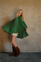 e264a07f17d6 bronze fringed Minnetonka boots - green pleated H M dress - cream crochet  thrift