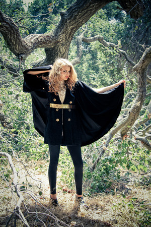 black wool free people sweater - black faux leather American Apparel leggings