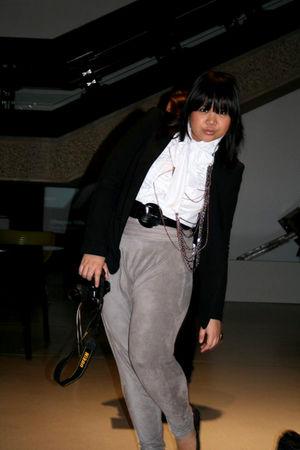 black Zara blazer - white Zara shirt - gray Zara pants - black Coast belt