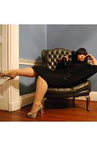 beige snake skin Kurt Geiger shoes - black silk lanvin dress