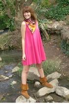 Target dress - thrifting treasure scarf - Minnetonka shoes