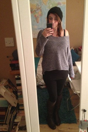 teal Primark jumper - dark brown next boots - black H and M leggings