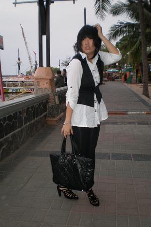 Esprit shirt - Magnolia vest - Zara leggings - Chanel purse - Zara shoes
