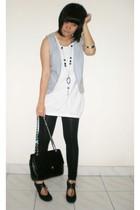 Mango shirt - random brand vest - Zara leggings - Chanel purse - random brand bo