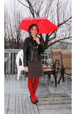 black Nine West jacket - black liiz claiborne shoes - ruby red H&Mm tights - rub