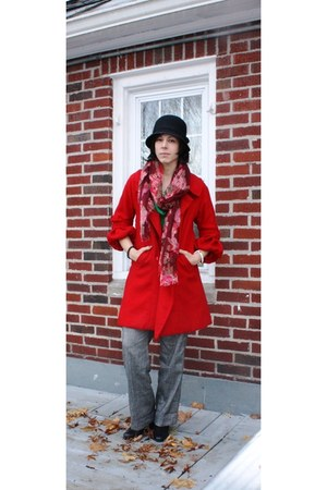 black liz claiborne shoes - ruby red thrifted vintage coat - black Capelli hat -