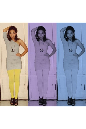 gray Topshop dress - yellow maldita tights