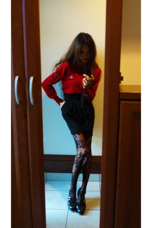 black EMODA skirt - black copo stockings - crimson vivienne westwood cardigan
