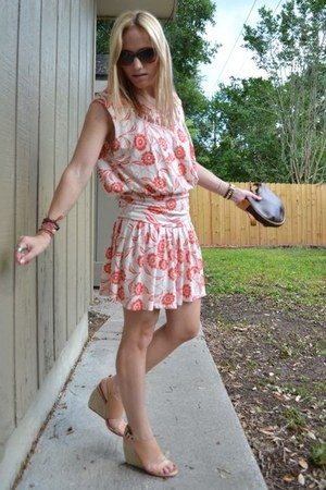 red Anthropologie dress - dark brown Louis Vuitton bag - Chanel sunglasses