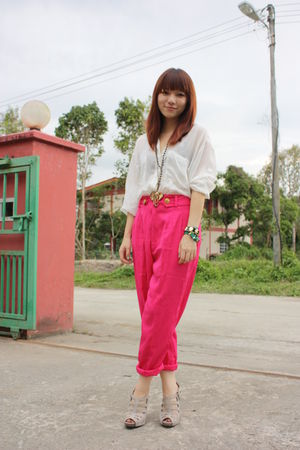 white Zara blouse - pink Mums vintage pants - blue Lamer watch accessories - gol