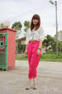 White-zara-blouse-pink-mums-vintage-pants-blue-lamer-watch-accessories-gol