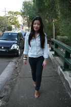 blue cotton on shirt - blue morrissey jeans - brown Charles & Keith shoes