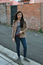 brown thrifted jacket - white sass top - blue Forever 21 jeans - gray asos shoes