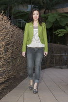 green Cue jacket - gray bardot jeans - gray Top end shoes - beige Valley Girl to