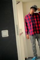 Levis blouse - Zara jeans - shoes - hat
