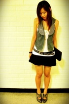 pink gossip gray vest - studded belt - supre white top - Vintage bag - oxford he
