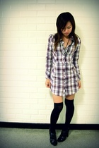 Dotti Plaid Shirt dress - rubi shoes - Black beads and crystal rosary
