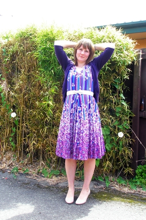 purple vintage dress - purple Glassons cardigan - pink No1 Shoes shoes - white p