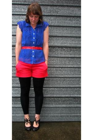 black Glassons leggings - blue JayJays blouse - red Glassons shorts - black Over