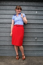 red thrifted skirt - blue Valley Girl shirt - brown Wild Pair shoes - red thrift