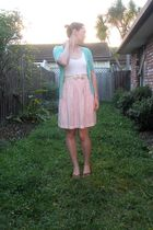 pink Glassons dress - green portmans cardigan - brown Hannahs shoes