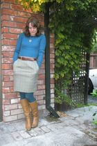 blue sweater - brown skirt - blue tights - brown boots - brown belt