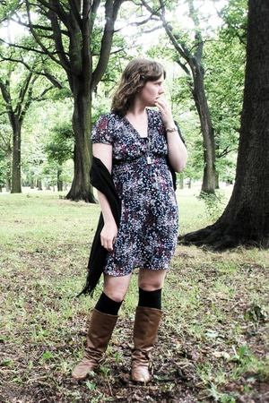 blue JayJays dress - black Ezibuy scarf - brown rubi boots
