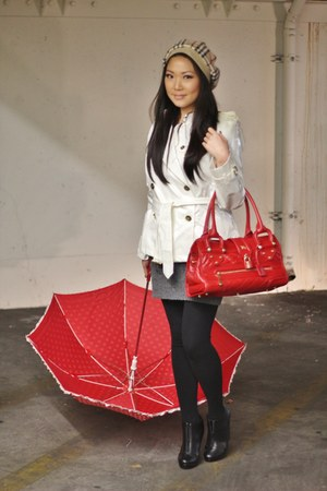 white Burberry coat - camel Burberry hat - red Burbery bag