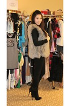 heather gray pink tartan vest - black versace x h&m boots