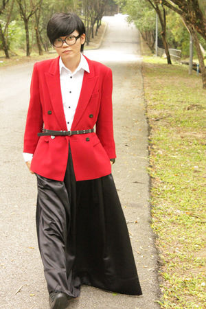red flea market blazer - black gs skirt - white Topman shirt - black Zara belt