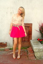 hot pink silk Forever 21 skirt - camel button up H&M blouse