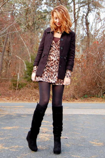 2baeb138ada El Cheetah Wrap Forever 21 Dresses Black Suede Journeys Boots