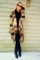 camel tribal Forever 21 sweater - black skinny Gap jeans