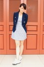 Periwinkle-zara-dress-navy-mango-blazer-white-reebok-sneakers