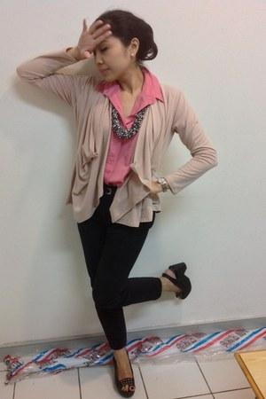 light pink multiway cottonink cardigan - black formal harem Zara pants