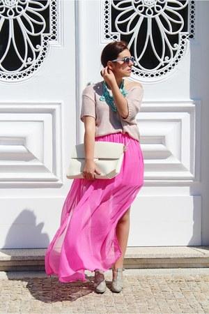 Choies necklace - Zara bag - Freyrs glasses - H&M jumper - Primark skirt