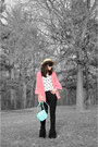 Black-ysl-boots-tan-talula-hat-salmon-zara-blazer-aquamarine-burberry-bag-