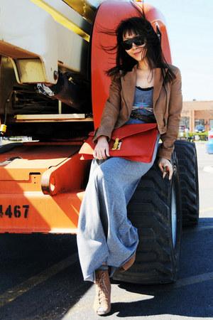 Zara boots - Freeloader dress - leather H&M jacket - asos bag - Zara belt