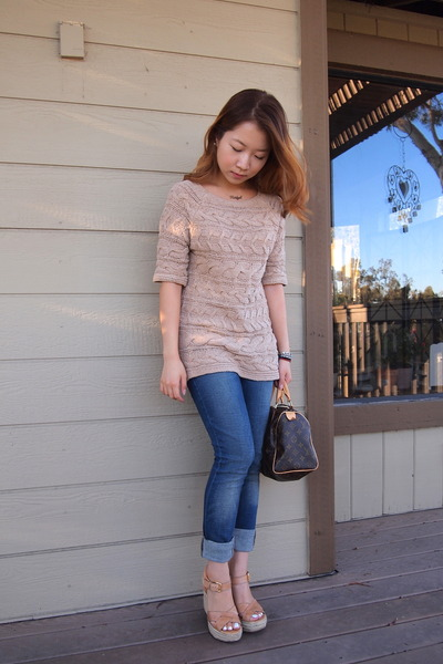 beige talbots sweater - navy Levis jeans - brown speedy Louis Vuitton bag