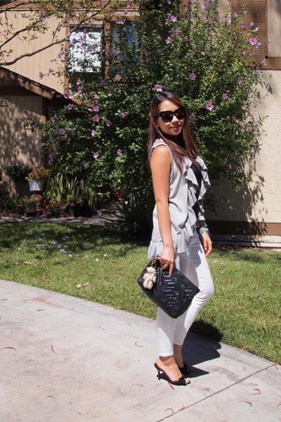 black mid Classified heels - white skinny Uniqlo jeans