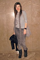 charcoal gray H&M jeans - dark brown Coolway boots - black H&M jacket