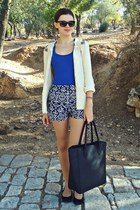 black H&M bag - navy Choies shorts - blue Bershka top - ivory pull&bear cardigan