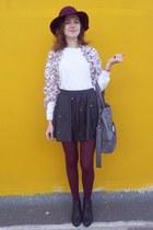 black H&M boots - brick red H&M hat - ivory H&M sweater