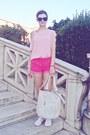 Light-pink-tally-weijl-top-ivory-valentina-bag-bubble-gum-h-m-shorts