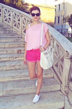light pink Tally Weijl top - ivory Valentina bag - bubble gum H&M shorts
