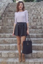 black H&M bag - camel Tally Weijl boots - black choiescom skirt