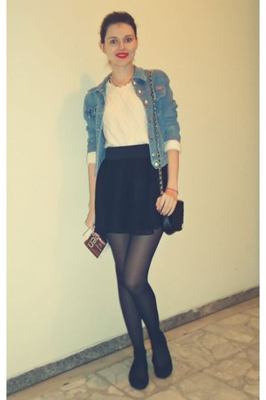 black Tally Weijl bag - sky blue on line jacket - white H&M sweater