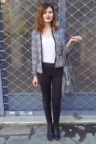 black H&M boots - heather gray pull&bear jacket - heather gray Bershka bag