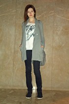 heather gray Bershka bag - silver H&M cardigan - black BOZIKIS sneakers