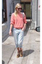 light pink  sweater - light blue  jeans